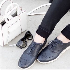 COLE HAAN Zero Grand Black leather Lace up Wingtip